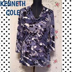 """KENNETH COLE COWL NECKLINE TOP This long-sleeved top by KENNETH COLE has a gorgeous drape due to a large cowl neckline ND ruched sides. Length is 28"""". Kenneth Cole Reaction Tops"""