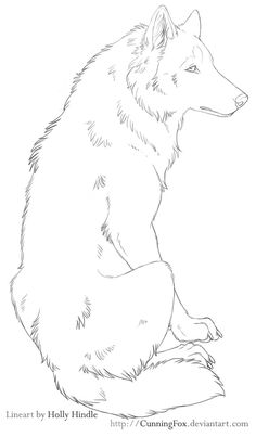 Free Lineart - Sitting chill wolf by CunningFox on DeviantArt