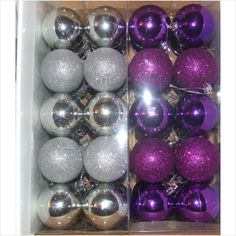 40 CHRISTMAS TREE BAUBLES IN PURPLE, SILVER,BLUE, PINK OR RED on eBid United Kingdom