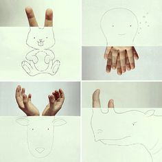 Javier Perez creates cute drawings out of his own fingers. #boredpanda