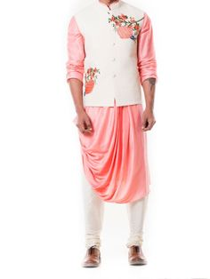 Indian Fashion Designers - Anju Agarwal - Contemporary Indian Designer - Off White Quilted Waist Coat Set - Mens Indian Wear, Indian Men Fashion, Mens Fashion Wear, Indian Party Wear, Look Fashion, Ethnic Fashion, Kurta Pajama Men, Kurta Men, Mens Sherwani