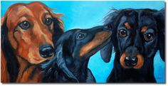 RKIves Original Oil Painting: Three Dachshund Pals - Doxie Dogs 24x12 large #Realism