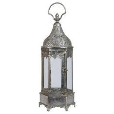 Lanterne 43x16x16cm, argenté