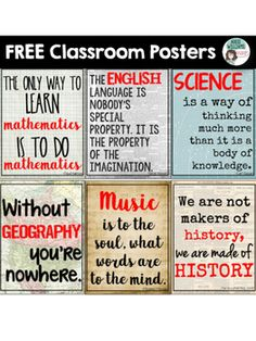 FREE subject posters for your middle / high school classroom!