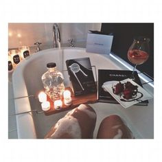 Relax with a book, strawberries, moscato, and a bubble bath. Houses Architecture, Just Relax, Relax Relax, Spa Day, Bath Time, Hygge, Spring Break, South Beach, Girly Things