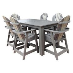 Outdoor Highwood Hamilton Recycled Plastic 7 Piece Rectangle Counter Height Adirondack Patio Dining Set - AD-CNA37-GLA