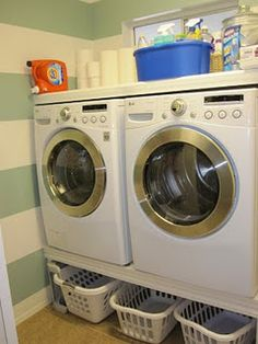 The platforms you can buy for washers/dryers are so expensive! Love this space-saving DIY idea!