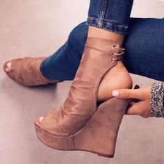 My Night - Taupe Wedges By Lolashoetique $38.99