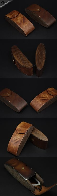 Handmade Vintage leather glasses case wood glasses