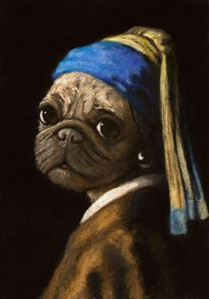 """Stephanie Matos: """"Pug with a Pearl Earring"""" Pug Photos, Pug Pictures, Pug Puppies, Pet Dogs, Doggies, Animals And Pets, Cute Animals, Fu Dog, Pugs And Kisses"""