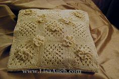 easy crochet pillow pattern-crochet pillow with flowers free #crochet pattern