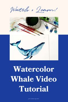 The best watercolor whale painting video tutorial. A lot of people commented that they wanted to see more animal tutorials, I'm kicking it off with this beautiful humpback whale. In the video, you'll learn how to sketch the while and then drop color with wet-on-wet and wet-on-dry techniques and some white gouache for some added detail. Whale Painting, Watercolor Whale, Watercolor Tips, Watercolor Design, Watercolor Techniques, Watercolour Painting, Watercolor Flowers Tutorial, Step By Step Watercolor, Whale Sketch