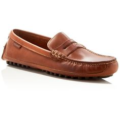 Cole Haan Grant Canoe Penny Loafers ($170) ❤ liked on Polyvore featuring men's fashion, men's shoes, men's loafers, papaya tan, cole haan mens shoes, mens tan shoes and mens penny loafer shoes