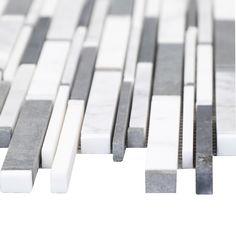 "Grey and White Matte Random Brick Pattern Marble Stone Tiles Product Description Sheet Size: 14 1/4"" x 12"" x 3/8"" Tile Style: Random Finished: Honed, Polished HTCESMA5"