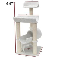 Majestic 44-inch Casita Cat Faux Sherpa Furniture Tree - Overstock Shopping - The Best Prices on Majestic Pet Products Cat Furniture
