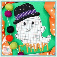 Ghost Hat Bean Stitch Applique Design
