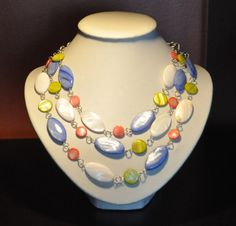 Colourful Shell & Silver Triple Strand Necklace by SheriSTRanger, $49.00