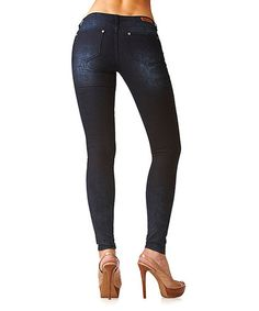 Take a look at this Dark Wash Floral Stencil Skinny Jeans by GRACE in LA on #zulily today!
