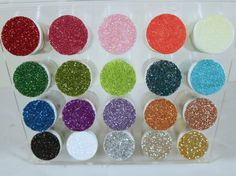 Super cool way to organize glitter - this is a spice rack! make with Mod Podge - I want my craft room organized!