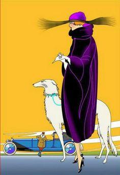 borzoi in art deco artwork - Ecosia Art Deco Illustration, Arte Fashion, Art Deco Fashion, Men Fashion, Fashion Ideas, Fashion Design, Greyhound Kunst, Art Quotidien, Art Nouveau