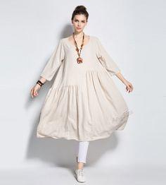 Anysize spring summer soft linen&cotton A-line dress plus size