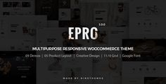 ePro is an advanced WooCommerce theme fully customizable and suitable for e-commerce websites of any purpose. The theme is characterized by universality, attractiveness and easy customization. Wit...