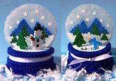 3D perler bead snow globe.
