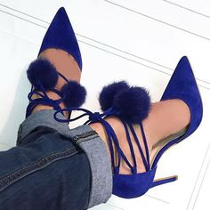 Fur Pom Pointy Lace up Heels