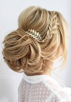 wedding updo with braid #weddinghairstyles