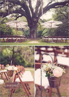 rustic pink wedding ceremony decor - YES