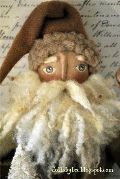 Primitive, Folk Art,Woodland Santa Doll... Ol' Woodland Claus with Pull Toy Sheep