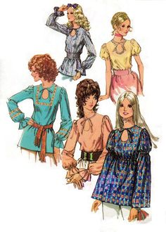 Five different blouse styles with keyhole neckline and waist and sleeve variations - 1971  Original Complete Simplicity Pattern #9513  Size 34 inch bust - 25 1/2 inch waist - 36 inch hip but details on adjusting the pattern to any modern size included.    Consutura Fashionista $14.00