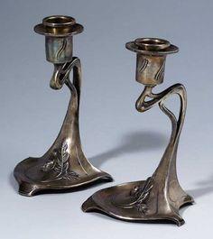 Paar Jugendstil-Kerzenleuchter.WMF um 1905 Zinn,