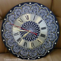 * * * * * * * * * * * * Mandala Design, Mandala Art, Mandala Painting, Clock Painting, Clock Art, Dot Art Painting, Diy Clock, Handmade Clocks, Pottery Painting Designs