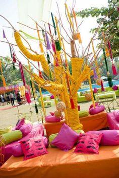 Mehendi Wedding Decor - Colorful mehendi decor  #wedmegood #mehendi #decor #gendaphool
