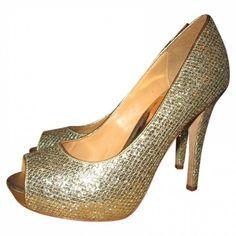 * * * Badgley Mischka Eidechs Stilettos gold, Gr.7.5/EUR 40.5 * * * Stilettos, Pumps, Heels, Badgley Mischka, Peep Toe, Gold, Ebay, Fashion, Clothing Accessories
