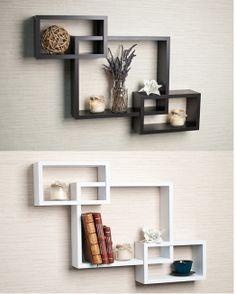 intersecting espresso wall shelf