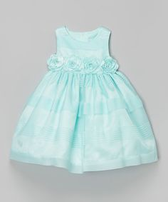 Look what I found on #zulily! Aqua Stripe & Flower Dress - Toddler & Girls #zulilyfinds