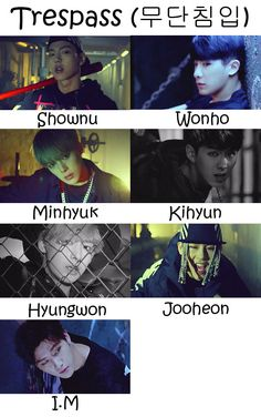 "monsta x members | The members of Monsta X in the ""Trespass"" MV"