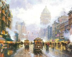 """Thomas Kinkade:  """"San Francisco, Market Street"""" low the detail in the foreground with the fuzziness in the back"""