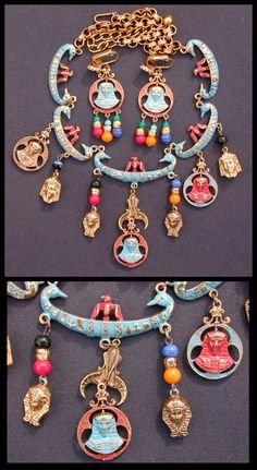 Stunning Egyptian Collar Necklace and Earrings 1970s