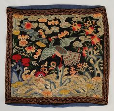 """Antique 19th C. Chinese silk civilian Mandarin square peacock 3rd rank badge textile. It is decorated with peacock facing left to sun with trees, flowers and clouds in forbidden stitch of fine quality.  Size : Measures 11 1/2"""" by 11 1/2""""."""