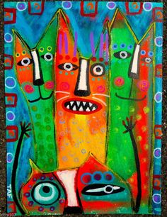 Tracey Ann Finley Original Outsider Raw Folk Painting Colorful Cats PHOTOBOMB! #OutsiderArt