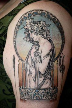 Mucha tattoo by Alice Kendall @ Wonderland Tattoo, OR