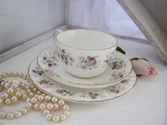 Mintons Ltd Spring Bouquet trio set, cup, saucer and side plate, 1970s, floral, bone china, cup of tea, wedding day, cuppa, delicate, Spring Bouquet, Side Plates, Ceramic Design, Worcester, Wedgwood, Bone China, Cup And Saucer, 1970s, Vintage Items
