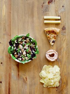 Skip: Fatty Salads. Adding blue cheese, balsamic vinaigrette, candied walnuts, and dried cranberries packs an extra 810 calories to your salad. That's the equivalent of a slice of pizza, a donut, two string cheese sticks, and a snack bag of chips!