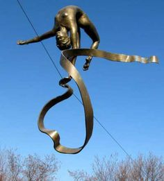 Bronze Garden Or Yard / Outside and Outdoor sculpture by artist Jerzy Kędziora titled: 'With Ribbon (Balancing Tight Rope High Wire sculptures statues)'