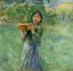 The Bowl of Milk. 1890, oil on canvas, Private Collection. Impressionist. Berthe Morisot (1841 – 1895).