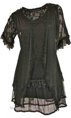 AP Emma Vintage Victorian Blouse In Black