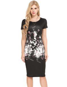 Black O-Neck Short Sleeve Prints Pullover Package Hip Dress